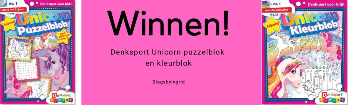 Denksport Unicorn puzzelblok en kleurblok